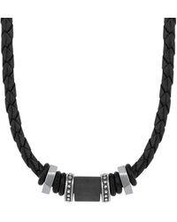 S.oliver Leder-Halskette mit Carbon-Beads - Schwarz