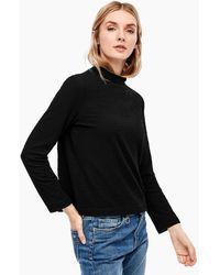 S.oliver Stehkragen-Shirt aus Struktur-Jersey - Schwarz