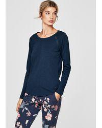 S.oliver Pyjama-Shirt mit Mesh-Details - Blau