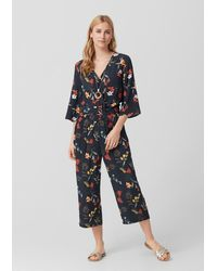 S.oliver Crêpe-Jumpsuit mit floralem Print - Blau