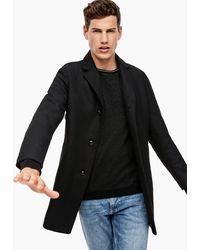 S.oliver Wollmix-Mantel mit Wattierung - Schwarz