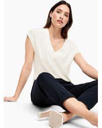 S.oliver V-Neck-Shirt mit Blusenfront - Natur