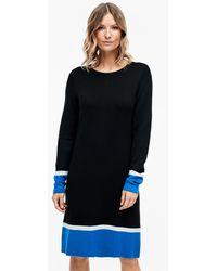 S.oliver Double Face-Kleid mit Blockstreifen - Schwarz