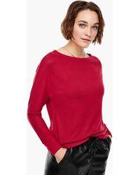 S.oliver Langarmshirt mit Melange-Effekt - Rot