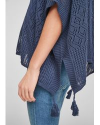 S.oliver - Leichter Poncho mit Ajourmuster - Lyst