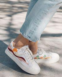 Soludos Hawaiian Fauna Platform Sneaker - White