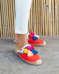 Soludos Coco Pompom Mule - Red