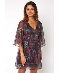 Jealous Tomato Printed Split Flutter Sleeve Dress Wine - Multicolor