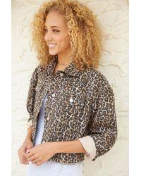 fe09c1b1ce43 Free People - Cheetah Print Cropped Denim Jacket Multi - Lyst