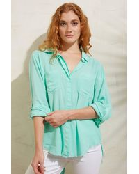 Velvet Heart Fray Hem Button Down Shirt Turquoise - Blue