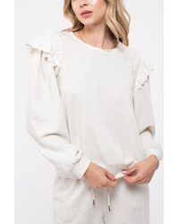 Blu Pepper Women's Eyelet Ruffle Sleeve Sweatshirt - White