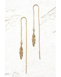 Tai - Gold Leaf Threader Earrings - Lyst