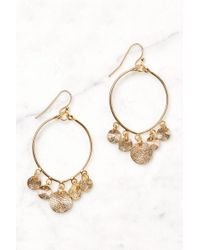 South Moon Under - Gold Coin Drop Hoop Earrings - Lyst