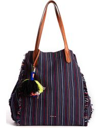 South Moon Under - Striped Pom Ibiza Fabric Tote - Lyst