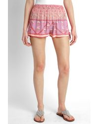 South Moon Under - Bella Printed Soft Shorts With Ties - Lyst