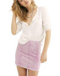 Free People - Modern Femme Pink Acid Wash Denim Skirt Pink Multi - Lyst