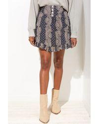 Blu Pepper Women's Mixed Print Ruffle Mini Skirt - Blue