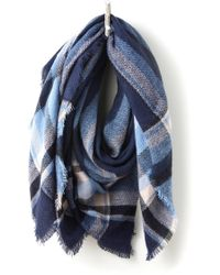 South Moon Under - Navy Plaid Oversized Blanket Wrap - Lyst