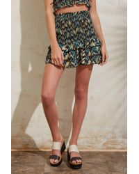 Olivaceous Smocked Chevron Skirt Multi
