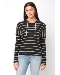 South Moon Under - Lounge Around Striped Hooded Thermal Top - Lyst