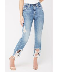 b73a16d98f397e Blank NYC - Destructed The Madison Hi Rise Straight Leg Crop Jean In Happy  Hour Light