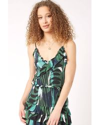 Olivaceous Smocked Palm Print Tank Top Grm - Blue