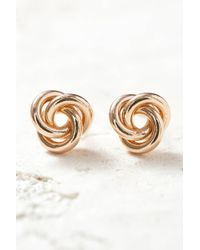 South Moon Under - Gold Knot Stud Earrings - Lyst