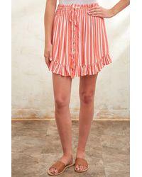 Olivaceous Orange Striped Smocked Waist Mini Skirt Orgm