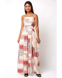 South Moon Under - Halter Patchwork Printed Rayon Jumpsuit - Lyst