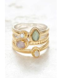 South Moon Under - Green Amethyst And Guava Faux Stacking Ring - Lyst