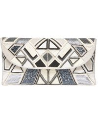 South Moon Under - Geometric Fold Over Beaded Clutch - Lyst