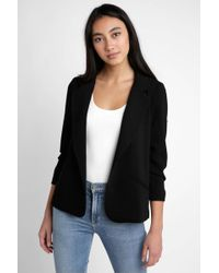 South Moon Under - Solid Blazer With Ruched Sleeves - Lyst