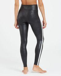 Spanx Faux Leather Side Stripe Leggings - Black