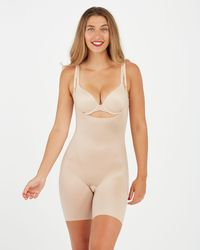 Spanx Thinstincts 2.0 Open-bust Mid-thigh Bodysuit - Natural