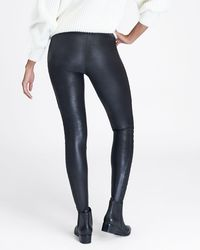 Spanx Faux Leather Quilted Leggings Casual Pants - Black