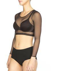 Spanx Sheer Fashion Mesh Crop Top - Black