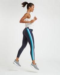Spanx Faux Leather Track Stripe 7/8 Leggings - Blue