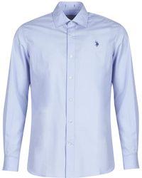 U.S. POLO ASSN. Jaxon Shirt Fc Men's Long Sleeved Shirt In Blue