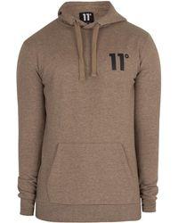 11 Degrees Men's Core Pullover Hoodie, Brown Men's Jumper In Brown