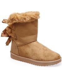 La Modeuse - Bottes neige Boots camel en fausse fourrure et noeuds fantaisies - Lyst