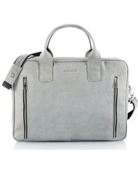 Brødrene - 7194 Men's Briefcase In Grey - Lyst