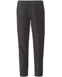 Maison Scotch Broek Tapered Lurex Pants With Velvet Side Panel - Grijs