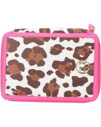 Roccobarocco Housse portable tablet bag iPad femme rose fuchsia cuir marron AG949