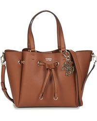 Guess Digital Drawstring Bucket Bag Cognac - Marron
