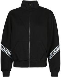 Karl Lagerfeld LOGOTAPEZIP-UPSWEATSHIRT - Negro