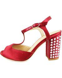 Lella Baldi - Sandales rouge satin strass AH826 Sandales - Lyst