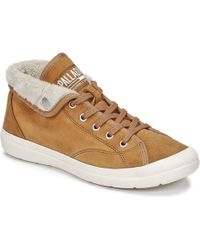 Palladium - Aventure Warm Sue Women's Shoes (high-top Trainers) In Brown - Lyst