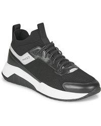 HUGO Lage Sneakers Atom Runn Knsk - Zwart