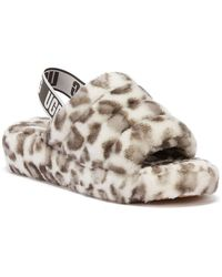 UGG Fluff Yeah Womens White Leopard Slippers Slippers - Multicolour