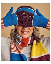 Woolovers Lambswool Colourblock Stripe Glove Gloves - Orange
